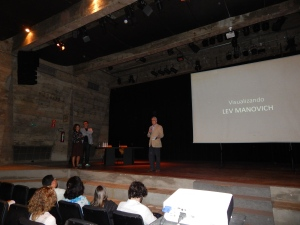 Teixeira Coelho, MASP curator, introducing Lev Manovich and Jane de Almeida