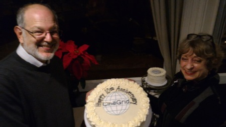 Laurin Herr and Natalie Van Osdol holding the 10th years CineGrid cake at the La Jolla Shores Hotel, in La Jolla. Photo: Cicero Inacio da Silva.
